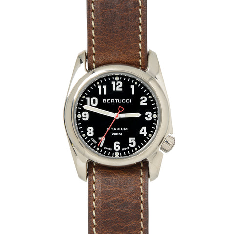 #12072UFW A-2T HIGHPOLISH - Onyx Black™ Dial, Nut Brown Horween Leather Band + Free Band & Shipping