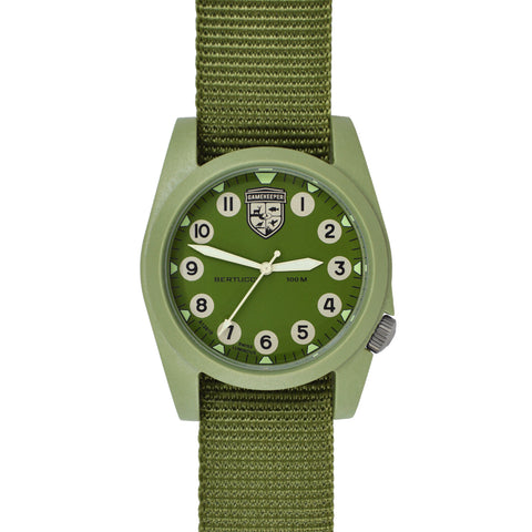#13375 Gamekeeper - Olive Dial / Moss Case w/ Forest Nylon Band