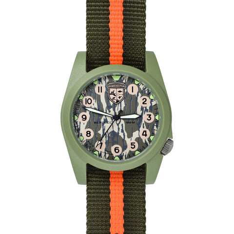 #13378 Gamekeeper - Mossy Oak® Bottomland™ Dial / Moss Case w/ Defender Olive/Blaze Nylon Band