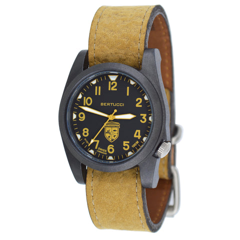 #13381 Gamekeeper - Black w/ Khaki Dial / Black Case w/ Coyote Survival Leather Band