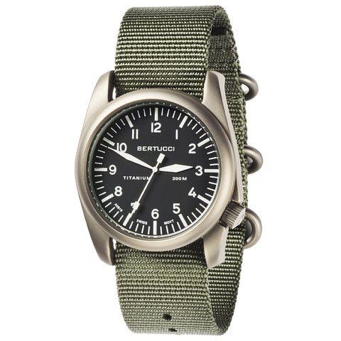 #13400 A-4T Aero Pilot Black - Defender Drab Nylon Band