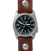 #13403 A-4T Aero Pilot Black - Vintage Brown w/ post screw leather