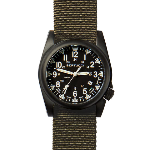 #13551 A-5S Ballista Illuminated Black - Defender Olive Nylon Band + Free Band & Shipping