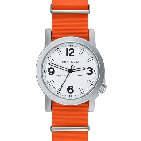 #16510 A-6A Experior Italia™ - White, Expeditionary Orange Italian Rubber NATO band