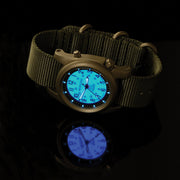 #22031 A-2SEL Super Illuminated Ghost Gray EL - Nurra Verde Italian Rubber NATO Band + Free Band & Shipping