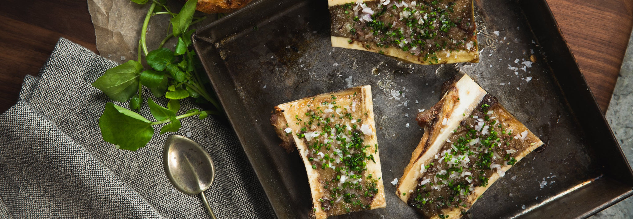 Roasted Bone Marrow with Chives & Shallots