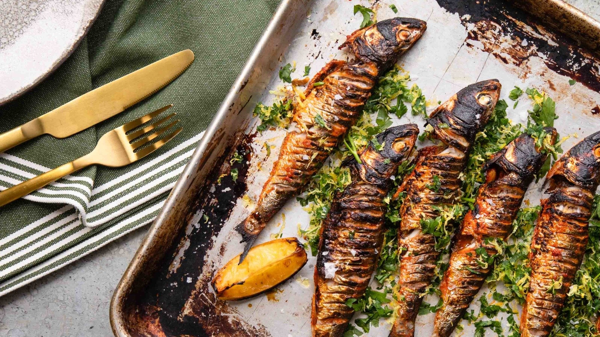 Grilled Marinated Sardines & Gremolata