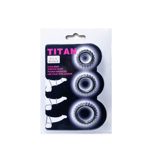 Titan Set 3Pcs Cock Ring Black 2.8 + 2.4 + 1.9 CmBAILE FOR HIM