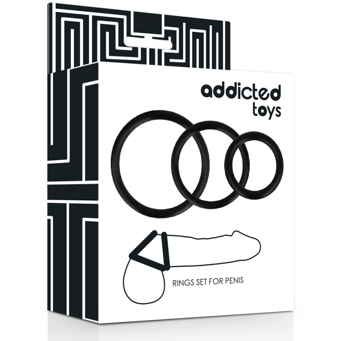 Set Anillos Pene Negro ADDICTED TOYS