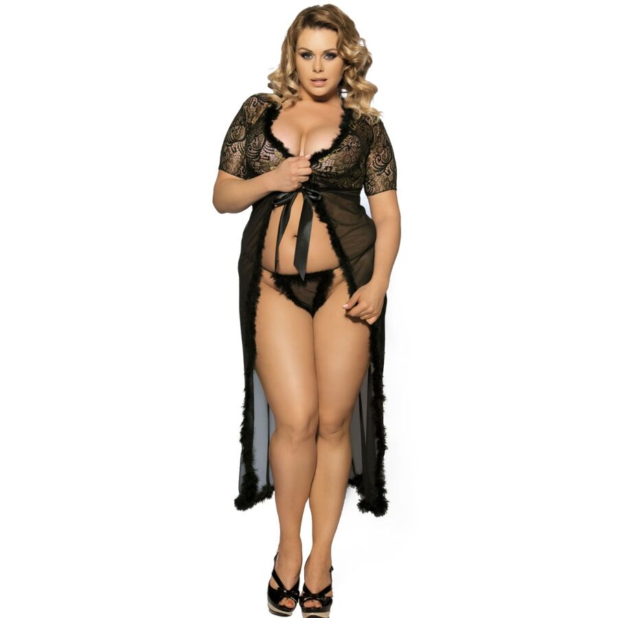 Queen Lingerie Peignoir Con Pelitos Negro Talla Plus