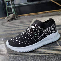 Bling Women's Shoes, Ladies Ankle Flat Loafers Crystal Fashion Shiny Sneakers