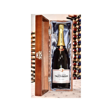 Tattinger Champagne in engraved wooden box - Bodega Movil