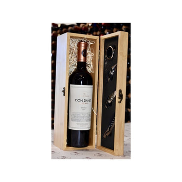 Personalised Solid Wooden Wine Box + Don David Reserve Malbec - Bodega Movil