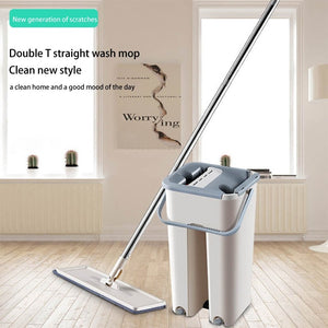 Magic Cleaning Mops Free Hand Mop with Bucket Floors Squeeze Flat Mop with Water