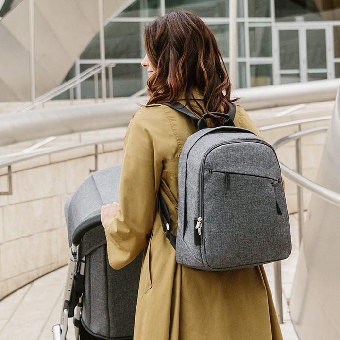 The changing backpack can also be worn like a regular backpack