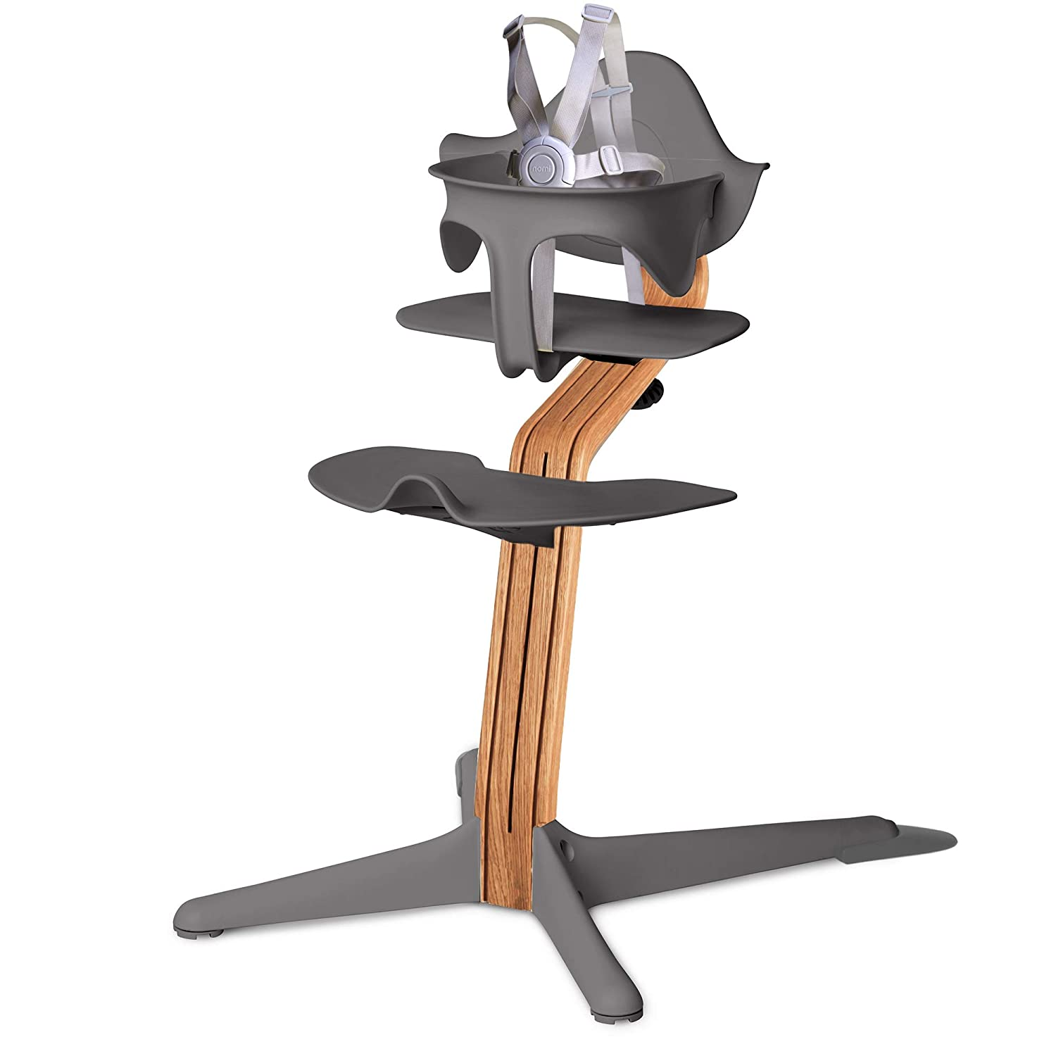 Amazon.com : Nomi High Chair, Gray – Premium Natural Oak Wood, Modern Scandinavian Design with a Strong Wooden Stem, Baby through Teenager and Beyond with Seamless Adjustability, Award Winning Highchair : Baby