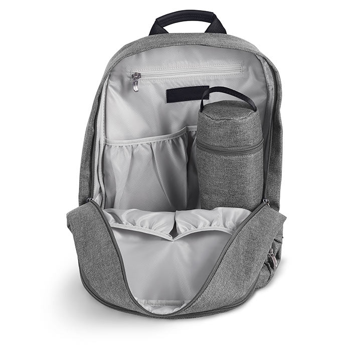 Backpack interior opened showing the bottle case and storage pockets