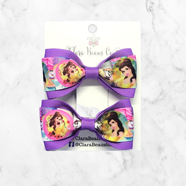 Belle Beauty and the Beast Pig Tail Bow Set