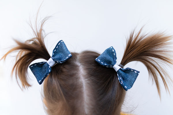 Denim Pig Tail Bow Set