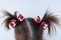 Lady Bug Pig Tail Hair Bow Set