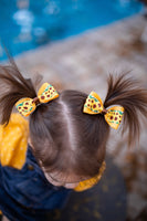 Sunflower Pig Tail Bow Set