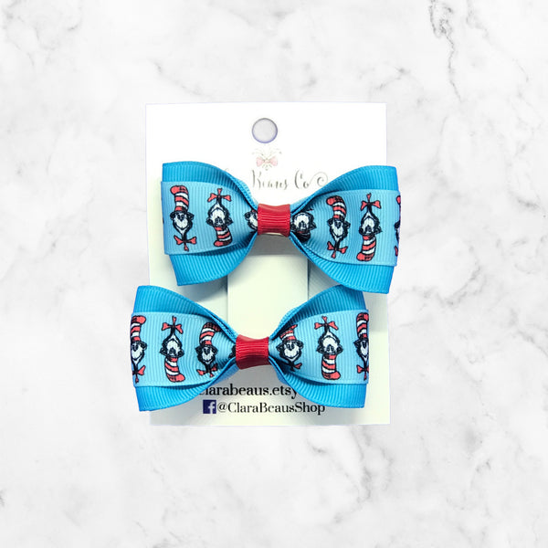 Cat in the Hat Pig Tail Bow Set
