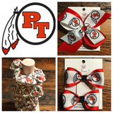 Peters Township logo pig tail hair bows - Clara Beaus Co