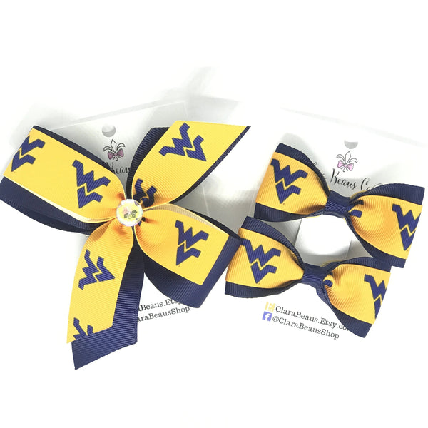 West Virginia University logo hair bows - Clara Beaus Co