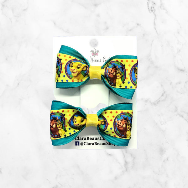 Lion King Simba Pig Tail Hair Bow Set