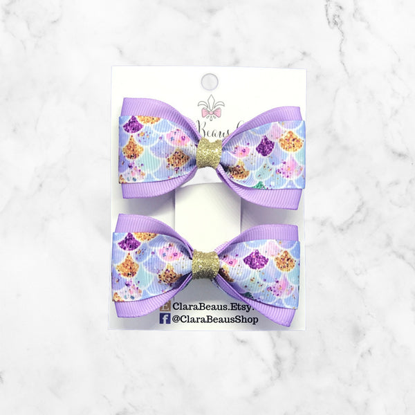 Mermaid Print Pig Tail Bow Set