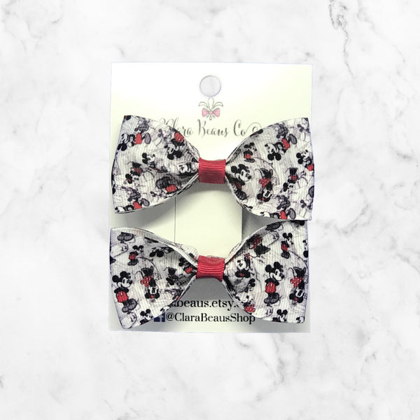 Mickey Mouse print pig tail bow set
