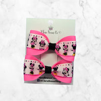 Minnie Mouse Pink Pig Tail Bow Set
