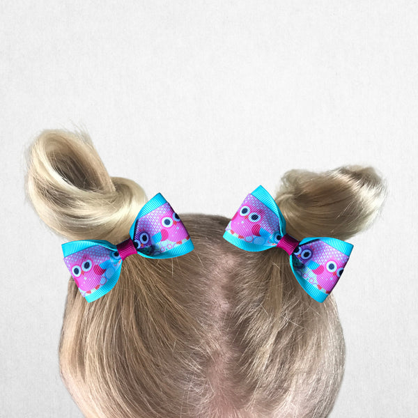 Owl Pig Tail Bow Set