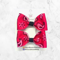 Paisley Red Pig Tail Bow Set