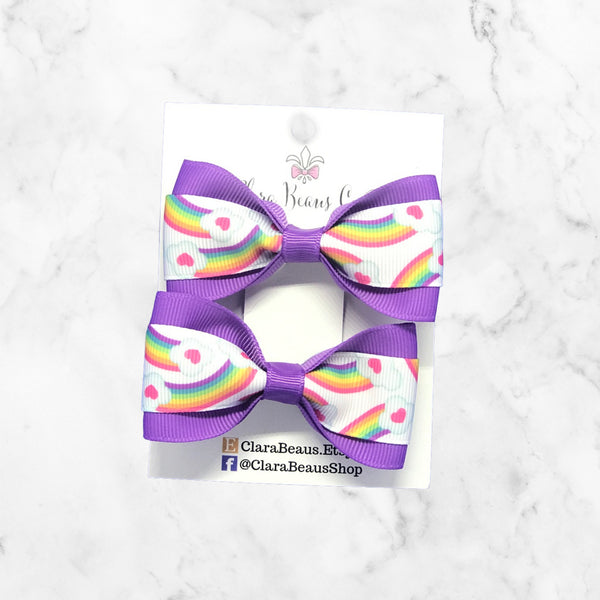 Rainbow Pig Tail Bow Set
