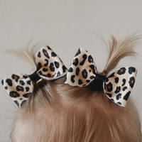 Leopard print pig tail bow set - Clara Beaus Co