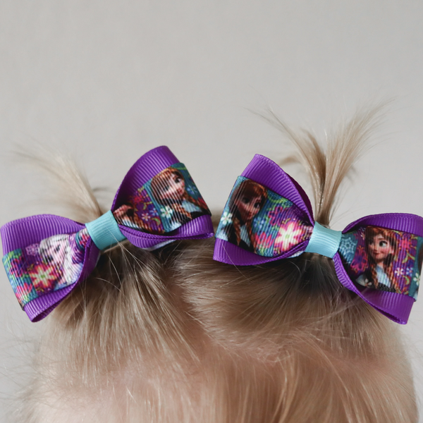 Elsa and Anna Frozen Pig Tail Bow Set - Clara Beaus Co