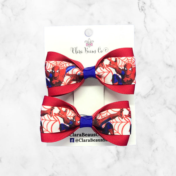 Spiderman Girls Pig Tail Hair Bow set