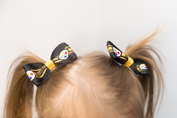 Pittsburgh Steelers Pigtail Hair Bow set