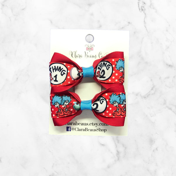 Thing 1 Thing 2 Dr. Seuss Pig Tail Bow Set