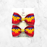Wonder Woman Girls Pig Tail Hair Bow set