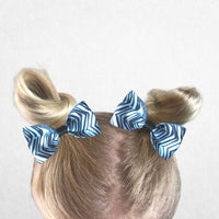 Zebra print pig tail bow set