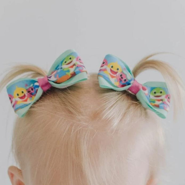 Baby Shark Pig Tail Bow Set - Clara Beaus Co