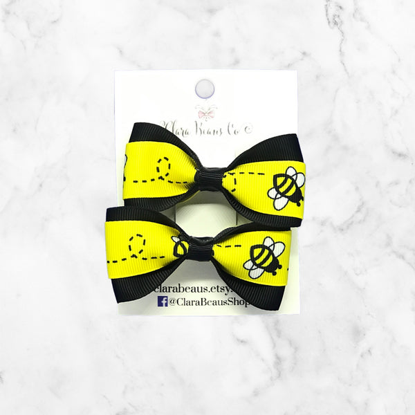 Bumble bee Pig Tail Bow Set