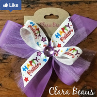 Happy Birthday hair bow Birthday party hair bow Grosgrain ribbon hair bow Alligator clip bow - Clara Beaus Co