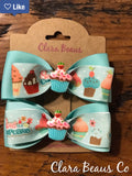 Cupcake pigtail bows Grosgrain ribbon hair bow Sweet hair bows Cupcake hair bow Alligator clip bow - Clara Beaus Co