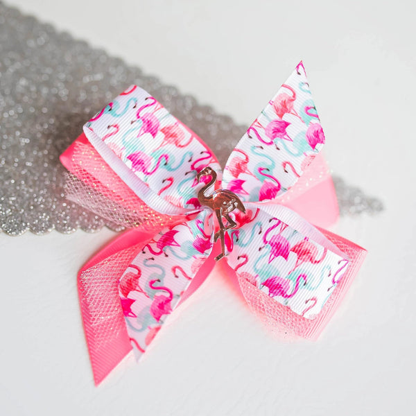 Flamingo hair bow - Clara Beaus Co