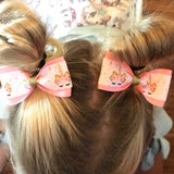 Unicorn Pink/Gold Pig Tail Bow Set - Clara Beaus Co