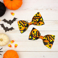 Pumpkin and candy corn pig tail bow set