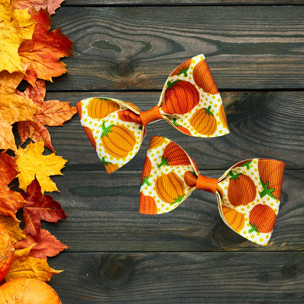Pumpkin pig tail bow set